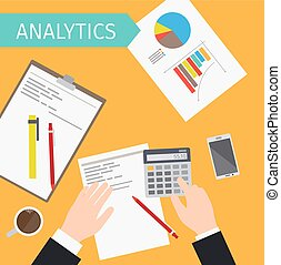 Business analytics top view illustration