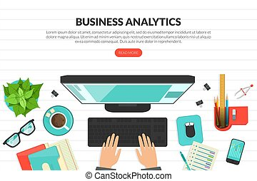 Business Analytics, Top View of Workplace with Computer and Typing Hands, Remote Job, Home Office Homepage, Website Flat Vector Illustration