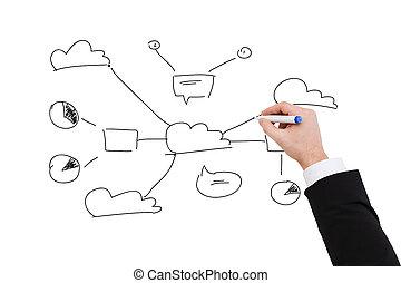 close up of businessman drawing plan