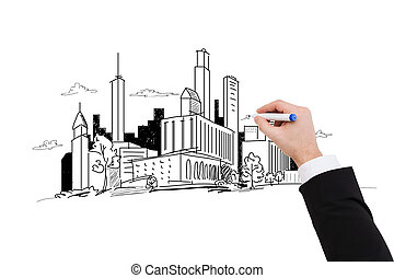 close up of businessman drawing city sketch