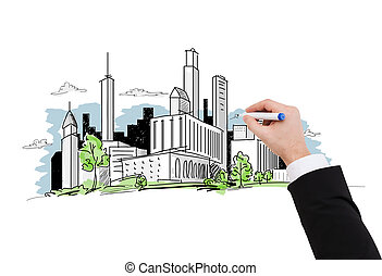 close up of businessman drawing city sketch - business and...