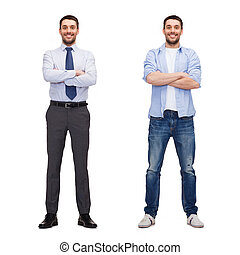 same man in different style clothes - business and casual...