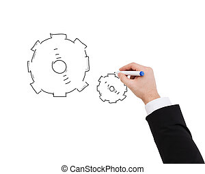 close up of businessman drawing cogwheel
