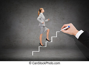 smiling businesswoman stepping up staircase - business and ...