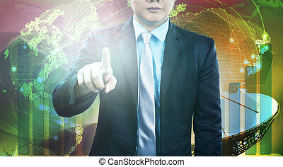 business and engineering man pointing finger to require person to working with construction team against industry site background