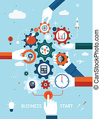 Conceptual vector illustration of a business and entrepreneurship business start or launch with gears and cogs with various icons for industry and business held by hands one pushing the start button