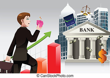 Business and finance concept - A vector illustration of...