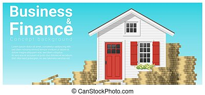 Business and Finance concept background with a little house 2