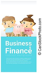 Business and Finance concept background with children saving money 2