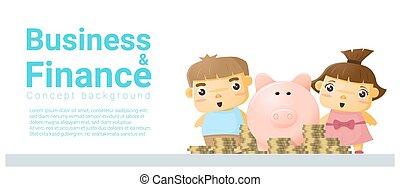 Business and Finance concept background with children saving money
