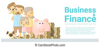 Business and Finance concept background with family saving money 1