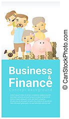 Business and Finance concept background with family saving money 4