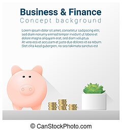 Business and Finance concept background with piggy bank 10