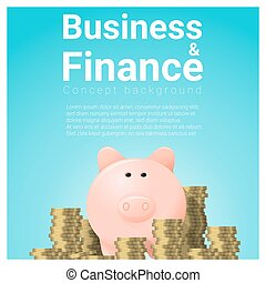 Business and Finance concept background with piggy bank 12