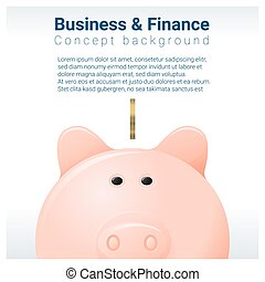 Business and Finance concept background with piggy bank 2