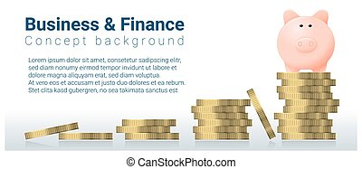 Business and Finance concept background with piggy bank 3