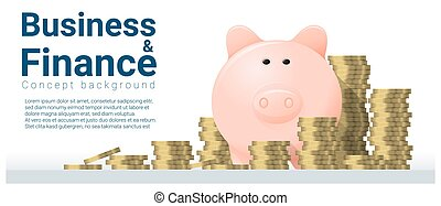 Business and Finance concept background with piggy bank 4