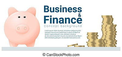 Business and Finance concept background with piggy bank 5