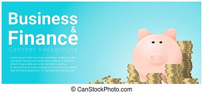 Business and Finance concept background with piggy bank