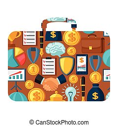 Business and finance concept from icons in shape of briefcase