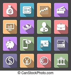 Business and Finance flat icons set