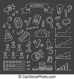Business and finance hand drawn infographic design elements. Doodle vector set.