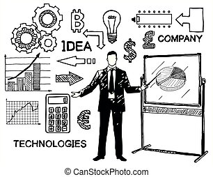 Business and finance icon set, vector hand drawn...