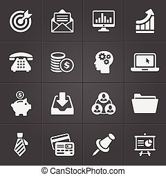 Business and finance icons on black set 2. Vector