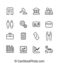 business and finance line Icons set. Vector illustration.