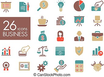 Business and finance web outline icon set. Graph symbol for...