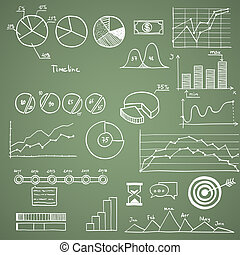 Business and finanse hand draw doodle elements graph chart timeline.