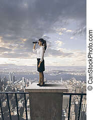 Business and future - businesswoman looking for a future in...
