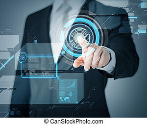 man hand pointing at virtual screen