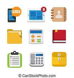 Business and interface flat icons set, Illustration EPS10