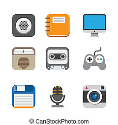 Business and interface flat icons set,Illustration EPS10