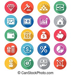 Business and investment flat color icons