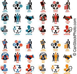 Business people meeting managements icons set of product idea community search optimization isolated vector illustration