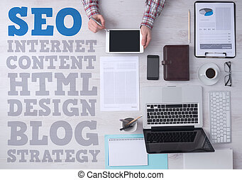 Business and marketing concepts on office desktop -...