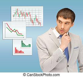 pensive man looking at forex charts