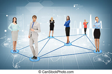 social or business network - business and networking concept...