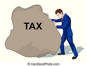 Business and office concept. Businessman with tax stone. Colorful cartoon flat characters. Vector illustration. Isolated on white background.