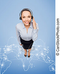 friendly female helpline operator with headphones - business...