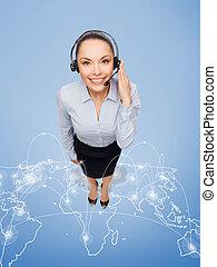 friendly female helpline operator with headphones - business...