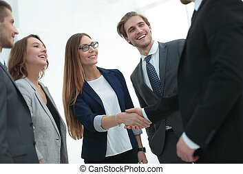 business and office concept - smiling business team
