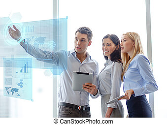 business team working with tablet pcs in office - business...