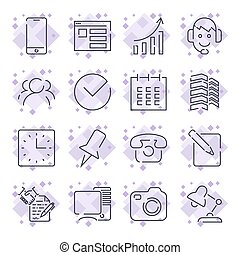 Business and office icon set. Universal icons for programs,...