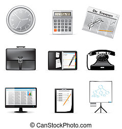 Business and office icons isolated on white