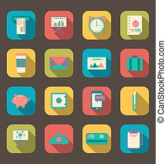 Business and office objects, flat icons with long shadows