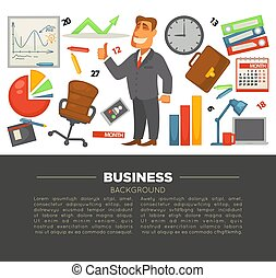Business and office supplies businessman in suit and graphics