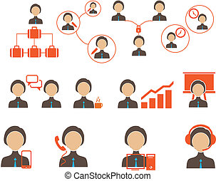 business and people icon set